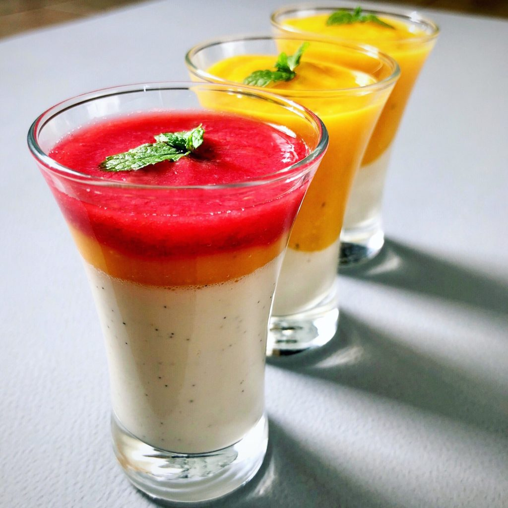 Pannacotta, mango or raspberry  … Or both!