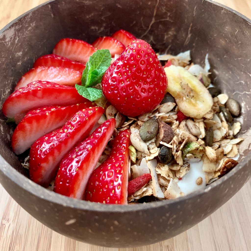 This is an excuse to eat strawberries. (granola recipe)